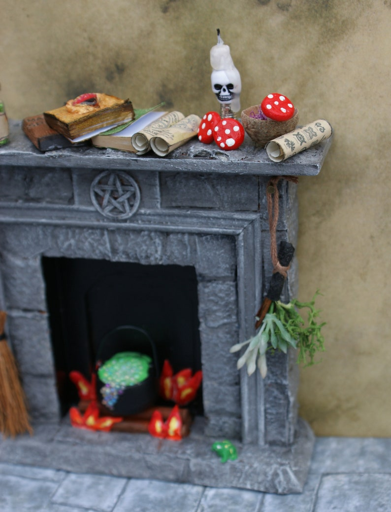 Dolls House Fireplace Witches House Spooky Spells and Potions 12th Scale Stone Effect Fire Surround