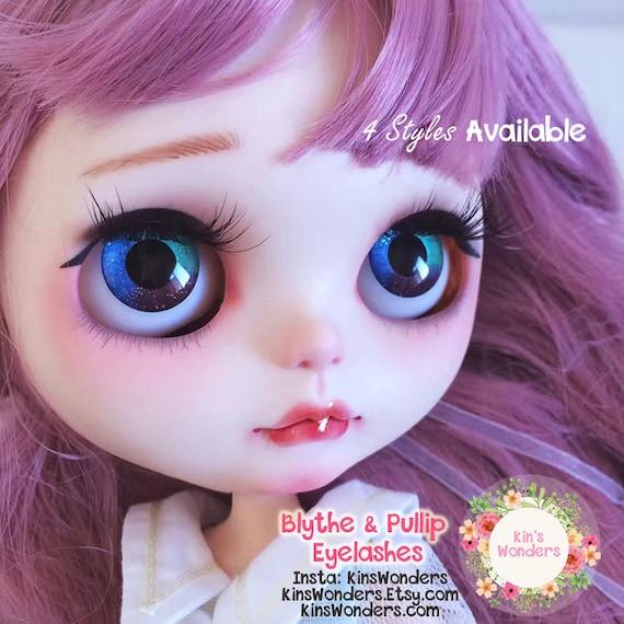 5 Paar Wimpern und 5 Paar Eyechips Glas für Blythe Puppe Eys Making And