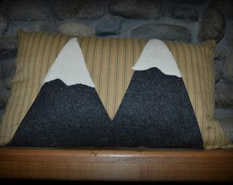 Mountain Pillow, Throw Pillow, Rustic Pillow, Complete Pillow, Home Decor, Wool Mountains, Homespun Pillow, Green Ticking Pillow