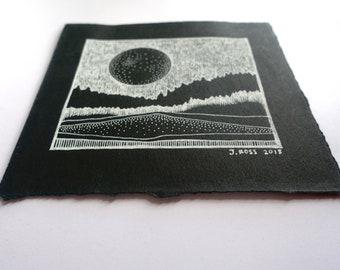 Black Moon Original Contemporary Drawing - Watercolor Ink Illustration Art Original Painting