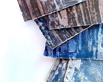 Painting Cards -Torn Edges Mixed Media Original Painting Recycled Edges Greetings Note Cards-Handmade Contemporary Artwork-READY TO SHIP