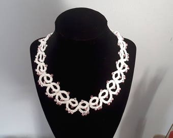 17 inch tatted necklace. Pink glass beads