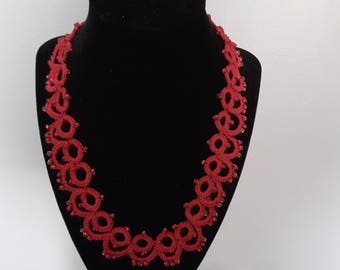 22 inch red tatted necklace