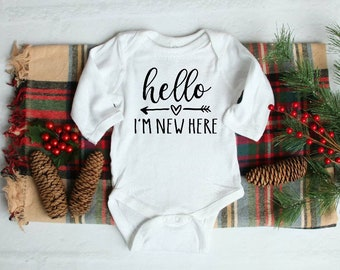 9676dc068fd0 Hello I'm new here long sleeve onesie, cute baby clothes, unisex baby  clothes, coming home outfit, newborn baby gift, Christmas baby gift