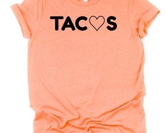 30ef4400299 Tacos shirt in peach   Taco Lovers Tshirt   I love Tacos tee   Fiesta  Bachelorette Shirts   Taco Love   Funny plus size shirt   graphic tee