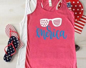 281ba8edd45a53 Merica Tank top   Merica shirt women   4th of July shirt women   Plus Size  July fourth tank top   Racerback tank top   USA tank   Sunglasses
