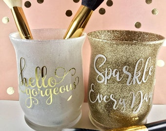 Hello Gorgeous, Sparkle Every Day set of 2 glitter makeup jar holders, makeup brush organizer, lipsense display, make up lover gift