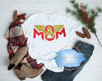 Wonder Mom Shirt, Wonder Woman Mother's Day Gift T-Shirt, Superhero Birthday Shirt, Superhero Mama Tee, Family T-shirt Birthday Gift for Mom