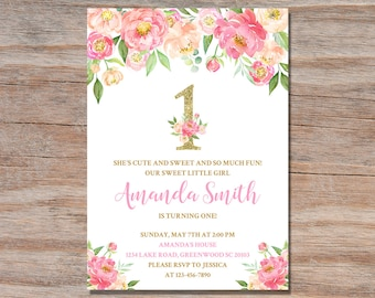 Pink And Gold First Birthday Invitation Girl Flower Floral Party