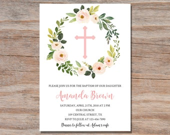 Girl baptism invitation Etsy