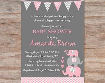 Elephant Baby Shower Invitation Girl Etsy