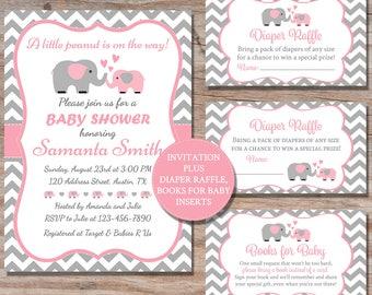 Baby shower invite etsy elephant baby shower invitation elephant baby shower invite pink grey elephant printable party invitation elephant baby shower invite filmwisefo