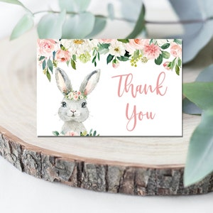 Bunny Thank You Card Bunny Baby Shower Thank You Card Bunny Greenery Thank You Note Card Bunny Thank You Card Printable Bunny Thank You