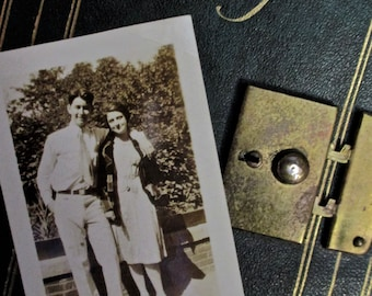 Vintage 1930s Diary Journal Book Young Couple History Vintage Photo Memorabilia Green Gold Book REED COOK Madison Ave Vintage books Antique