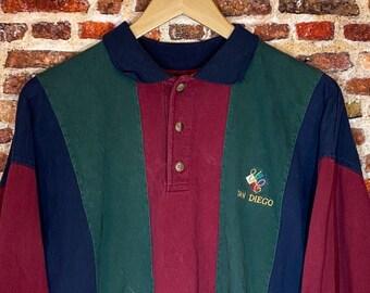 Vintage UC San Diego Men's Large Long Sleeve Color Block Rugby Shirt