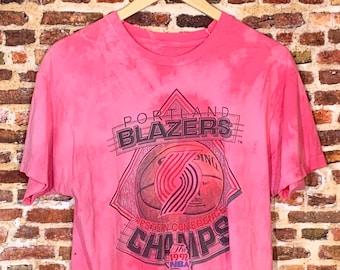 Vintage Portland Trail Blazers 1992 NBA Finals Men's Medium One of a Kind Custom Dyed Tee Shirt Rare
