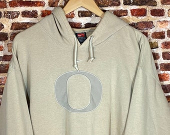 "Vintage Nike Oregon Ducks ""Middle Swoosh"" Men's 2X All Embroidered Hoodie Sweatshirt Rare"