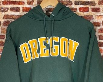 Vintage Champion Oregon Ducks Men's Large Classic Spell Out Hoodie Sweatshirt