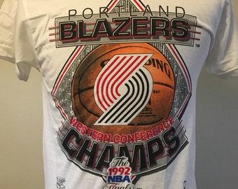 Vintage 90 s PORTLAND TRAIL BLAZERS Men s Medium Tee Shirt Rare 1992 Nba  Finals Single Stitch Salem Sportwear Champions 769f02fdb