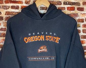 Vintage Oregon State Beavers Men's 2XL All Embroidered Hoodie Sweatshirt Rare made by Lee Sport