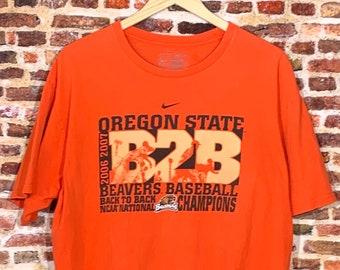 Vintage OREGON STATE Beavers 2006 & 2007 Back to Back Baseball Champs Men's Large Tee Shirt Rare made by Nike
