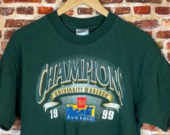 Vintage Oregon Ducks Football 1999 Sun Bowl Champions Men's Large Graphic Tee Shirt