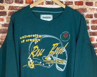 Vintage Oregon Ducks Football 1995 Rose Bowl Men's XL Heavyweight Crewneck Sweatshirt Rare