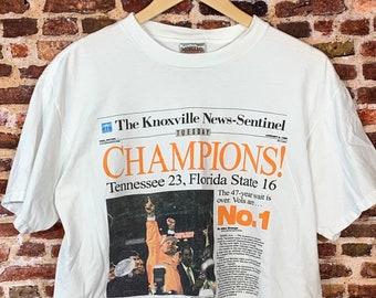 Vintage Tennessee Volunteers Football 1999 National Champions Men's Large Tee Shirt RARE