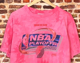 Vintage Portland Trail Blazers 2000 Playoffs Men's Large One of a Kind Custom Dyed Tee Shirt