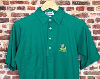 Vintage 80's OREGON DUCKS Men's Small Button Up Tee Shirt RARE made by Antigua