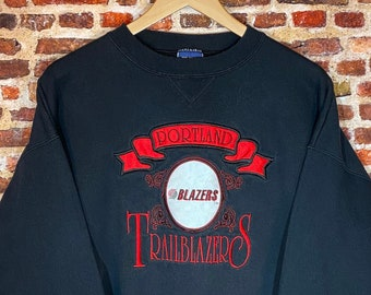 Vintage Early 90's Portland Trail Blazers Men's XL All Embroidered Crewneck Sweatshirt Rare made by Bike
