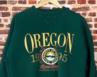 Vintage Oregon Ducks 1995 Rose Bowl Men's Large Heavyweight Crewneck Sweatshirt Rare
