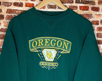 Vintage Early 90's Oregon Ducks Men's Large All Embroidered Crewneck Sweatshirt Rare made by Midwest Embroidery