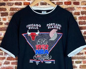 Vintage Portland Trail Blazers vs Chicago Bulls 1992 NBA Finals Men's Medium Graphic Tee Shirt made by Salem Sportswear