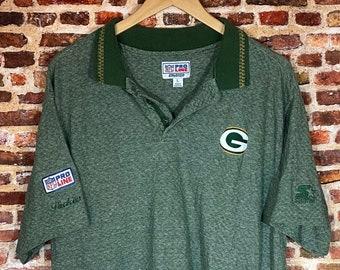 Vintage 90's Starter Green Bay Packers Men's Large Sideline Collar Tee Shirt