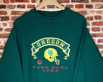 Vintage Oregon Ducks Football 1995 Rose Bowl Men's XL All Embroidered Crewneck Sweatshirt Rare made by Midwest Embroidery