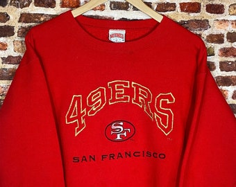 Vintage Early 90's San Francisco 49ers Men's Medium All Embroidered Crewneck Sweatshirt Rare made by Nutmeg Mills