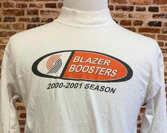 Vintage 2000-2001 PORTLAND TRAIL BLAZERS Boosters Men's Medium Longsleeve Tee Shirt Rare