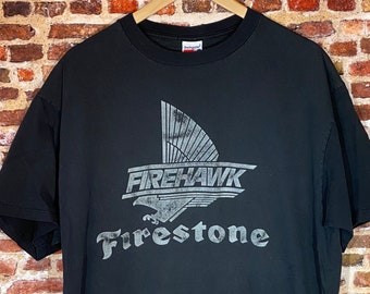 """Vintage Early 90's Firestone """"Firehawk"""" Performance Tires Men's XL Graphic Tee Shirt made by Swingster"""
