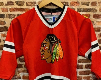 Vintage 90's Chicago Blackhawks Youth Size Small (8-10Y) Hockey Jersey Rare made by CCM