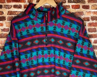 Vintage Aztec Print Men's Medium Pullover Half Zip Fleece Sweatshirt Rare