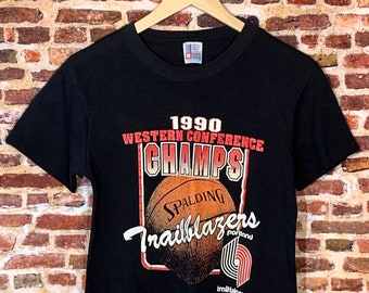 Vintage 1990 Portland Trail Blazers Western Conference Champions Men's Small Tee Shirt RARE