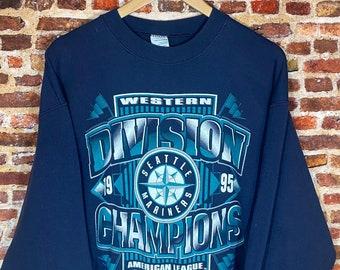 Vintage Seattle Mariners 1995 Division Champions Men's XL Crewneck Sweatshirt Rare made by Salem Sportswear
