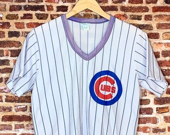 Vintage 80's CHICAGO CUBS Men's Small Classic Pinstripe Baseball Jersey