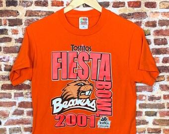 Vintage 2001 OREGON STATE Beavers Football Fiesta Bowl Men's Small Shirt RARE