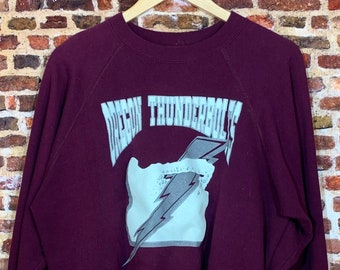 Vintage 80's OREGON THUNDERBOLTS Semi-Pro Football Men's Medium Crewneck Sweatshirt Rare
