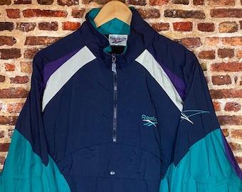 Vintage 90's Reebok Men's Large Color Block Nylon Windbreaker Jacket