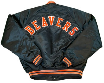 Vintage Oregon State Beavers Men's Large Satin Bomber Jacket Rare made by Chalk Line