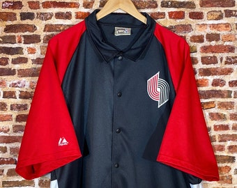 Vintage Portland Trail Blazers Hardwood Classics Men's 2XL On Court Warm Up Jersey Rare made by Majestic