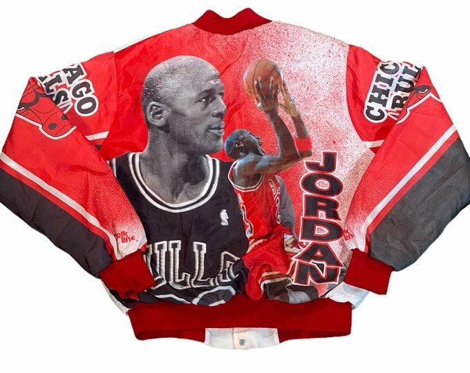 """Featured listing image: Vintage Early 90's Michael Jordan Chicago Bulls Men's Large """"Fanimation"""" Bomber Jacket made by Chalk Line"""